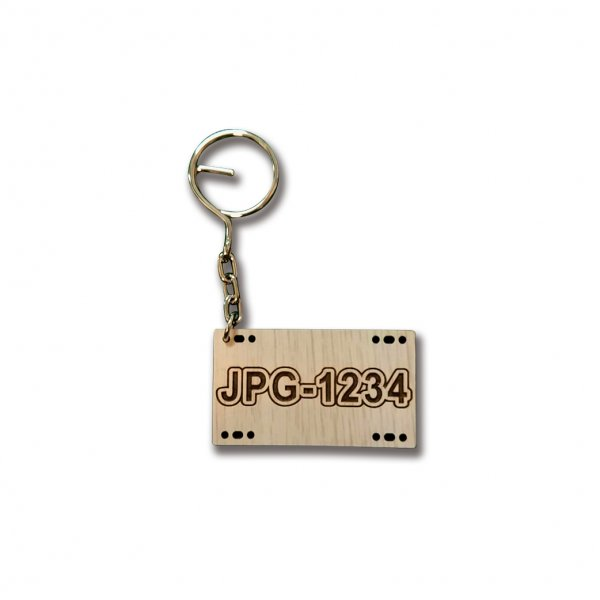 木雕鑰匙圈-客製化車牌鑰匙圈-白橡