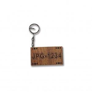 木雕鑰匙圈-客製化車牌鑰匙圈-紫檀